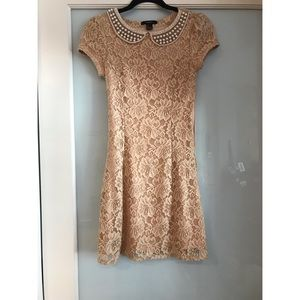 Nude Lace Dress with Beaded Peter Pan Collar